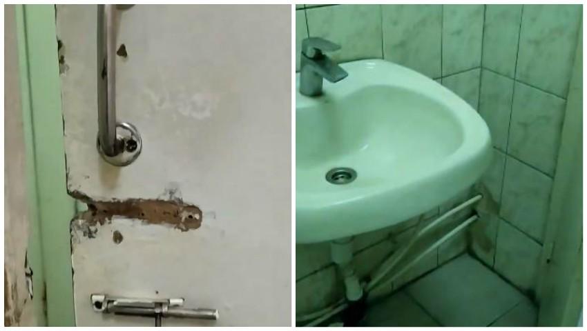 Foto: Nemulțumirea unei paciente. Așa arată grupurile sanitare de la Spitalul de Urgență din Chișinău: mucegai, mizerie și uși defectate