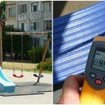 Foto: 68°C la tobogane! Terenurile de joacă pentru copii, pe timp de vară, sunt nefuncționale. Plantați copaci!