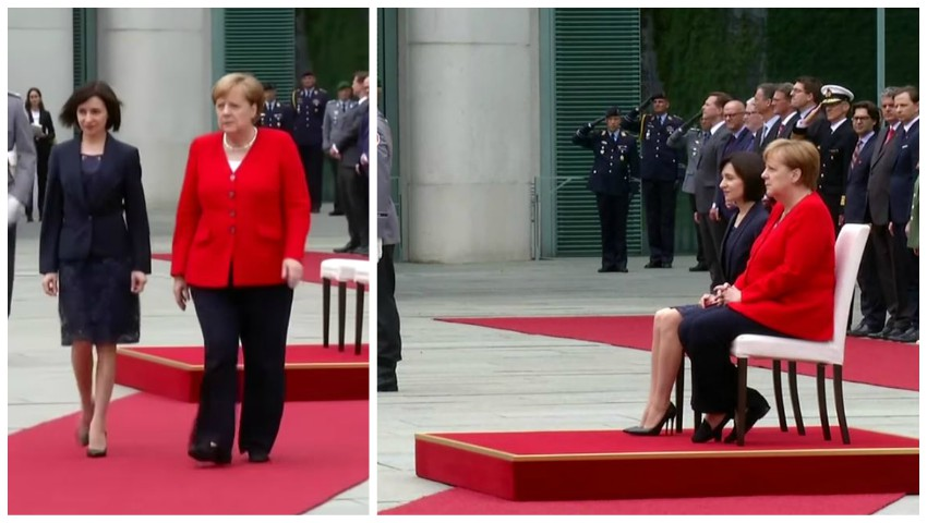 Foto: Video! Maia Sandu, întâmpinată cu onoruri militare de către Angela Merkel, la Berlin