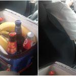 Foto: Băuturi răcoritoare, fructe, ciocolate sunt servite clienților, într-o mașină de taxi din capitală