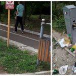 Foto: Regretabil. Containerele pentru animale din parcuri au fost transformate în gunoiști