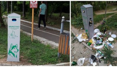 Regretabil. Containerele pentru animale din parcuri au fost transformate în gunoiști