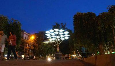 Arborii solari din Chișinău luminează orașul pe timp de noapte. Foto!