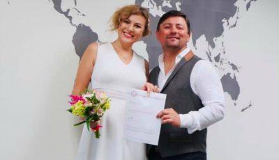 Designerul Irina Calancea și iubitul ei, Iurie Dușcov, au spus DA în fața ofițerului stării civile