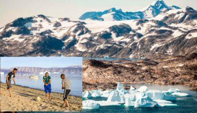 Temperaturile sunt atât de înalte în Groenlanda încât copiii se joacă la plajă