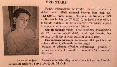 O minoră de 14 ani din Chișinău a dispărut fără veste de mai bine de o săptămână de zile