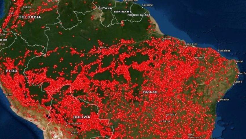 Foto: Incendiile din Amazon. O hartă arată cât de mult arde America de Sud
