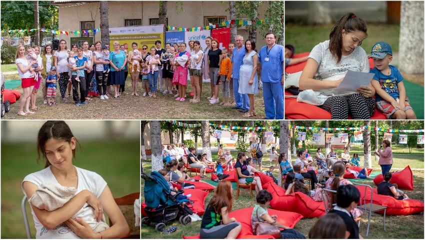 """Foto: Caravana """"Susținem părinții, încurajăm alăptarea!"""" a sosit la Ungheni. Zeci de mămici și graviduțe au aflat sfaturi utile oferite de specialiști"""