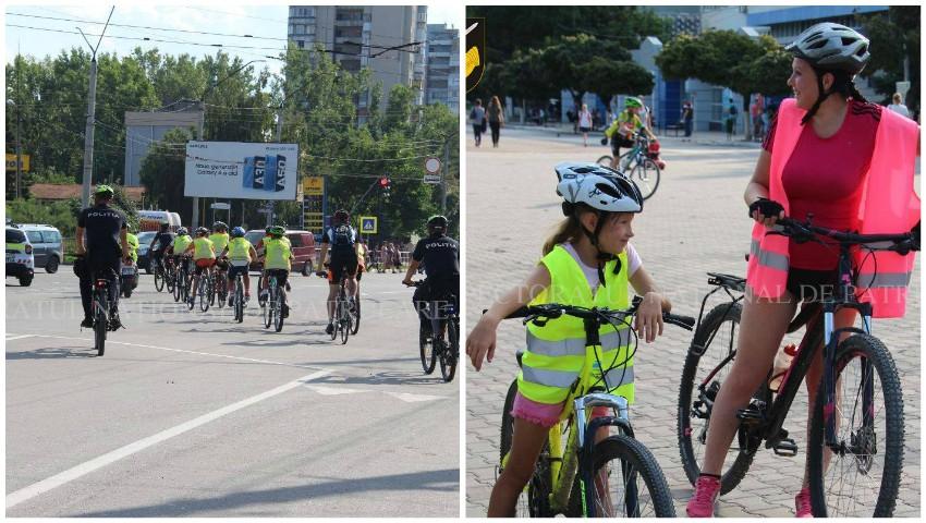 Foto: La Bălți, copiii au mers cu bicicletele însoțiți de polițiștii de patrulare