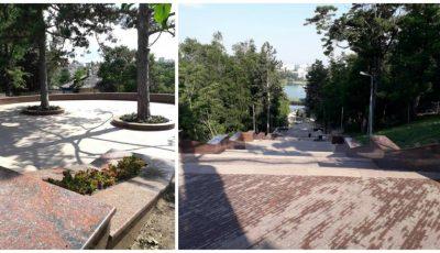 """Scara de granit din parcul ,,Valea Morilor"""" a fost finalizată și va fi inaugurată de Ziua Independenței"""