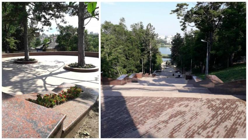 """Foto: Scara de granit din parcul ,,Valea Morilor"""" a fost finalizată și va fi inaugurată de Ziua Independenței"""
