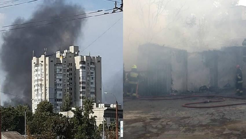 Foto: Fum negru și dens. Incendiu puternic în Chișinău