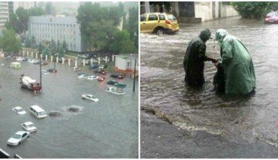 Inundații puternice în Odessa. Mașini smulse și înghițite de ape