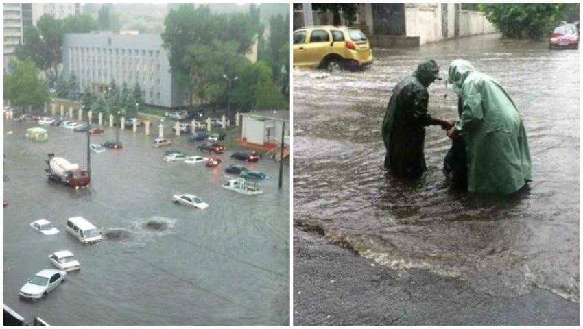 Foto: Inundații puternice în Odessa. Mașini smulse și înghițite de ape