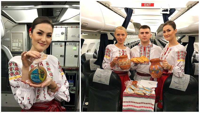 Foto: Stewardese în costume naționale, plăcinte și vin pentru călători. Ziua Independenței, sărbătorită la înălțime!
