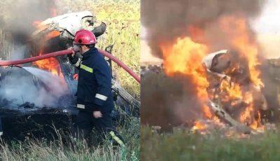 La Cahul, un BMW a luat foc după ce șoferul s-a tamponat violent într-un copac