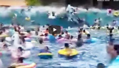 Clipe de groază: 44 de oameni au ajuns la spital, după ce într-o piscină s-a format un tsunami uriaș