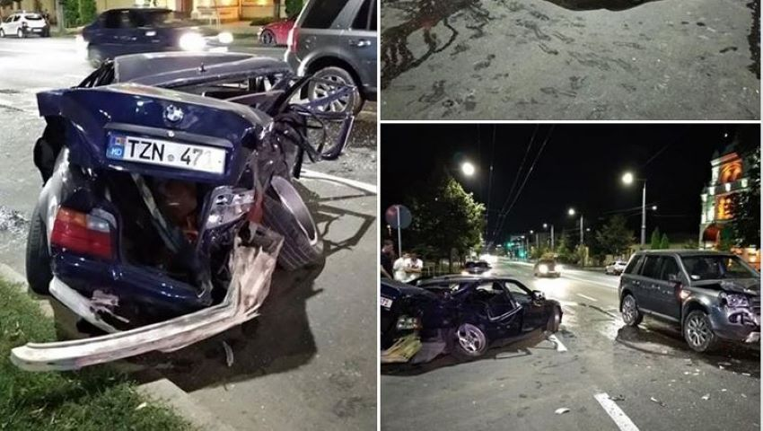 Foto: Accident grav cu implicarea unui BMW și a unui Range Rover, pe bulevardul Ștefan cel Mare. Mașinile, făcute zob