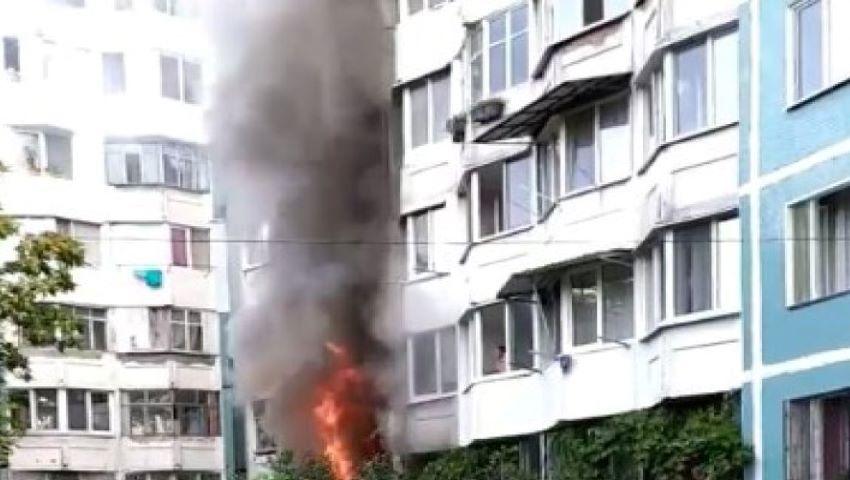 Foto: Incendiu într-un bloc de locuit din Capitală