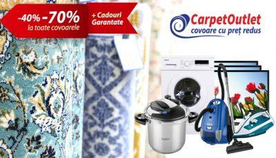Reduceri de la – 40% până la -70% la toate covoarele, cadouri garantate și tombolă cu premii – le găsești pe toate la CarpetOutlet!