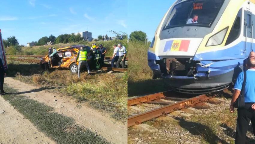 Foto: Șofer lovit de trenul Chișinău-Odessa, la Anenii Noi. Foto!