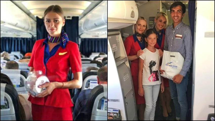 """Foto: De Ziua Aviaţiei Civile """"Air Moldova"""" a felicitat pasagerii într-un mod inedit!"""