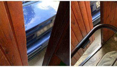 Un moldovean a parcat mașina chiar lângă ușa unui bloc de locuit