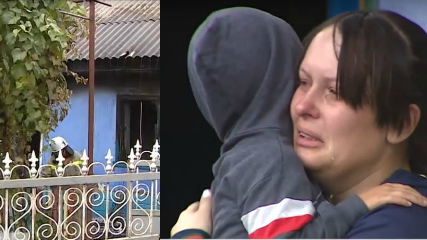 Foto: Trei copii și părinții lor au rămas fără casă, în urma unui incendiu