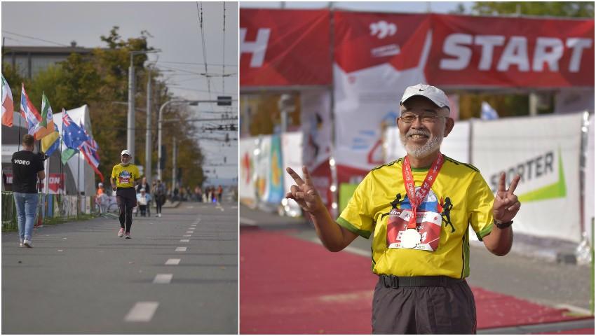 Foto: Un japonez în vârstă de 73 de ani a alergat 42 de km la Maratonul Internațional Chișinău. A alergat până acum la 340 de maratoane, în 75 de țări ale lumii