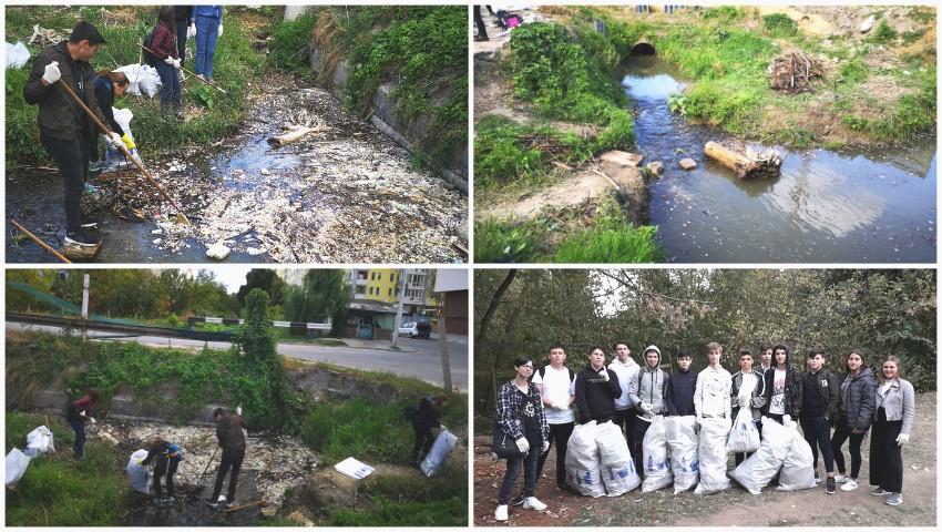 Foto: Mai mulți tineri voluntari au curățat râulețul Durlești din Capitală. Foto!