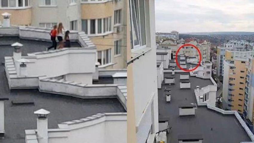 Copii, surprinși în timp ce se joacă pe acoperișul unui bloc cu 13 etaje din Capitală