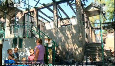 O familie cu 5 copii a rămas pe drumuri după ce casa le-a ars. Micuții nu pot merge la școală
