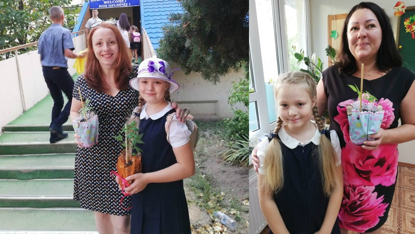 Foto: Mai mulți copii au mers la prima zi de școală cu puieți de copaci, în loc de buchete de flori