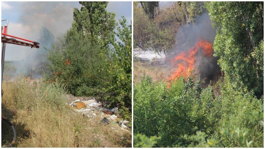 Foto: Un nou incendiu de vegetație în Chișinău. Focul a izbucnit în sectorul Râșcani