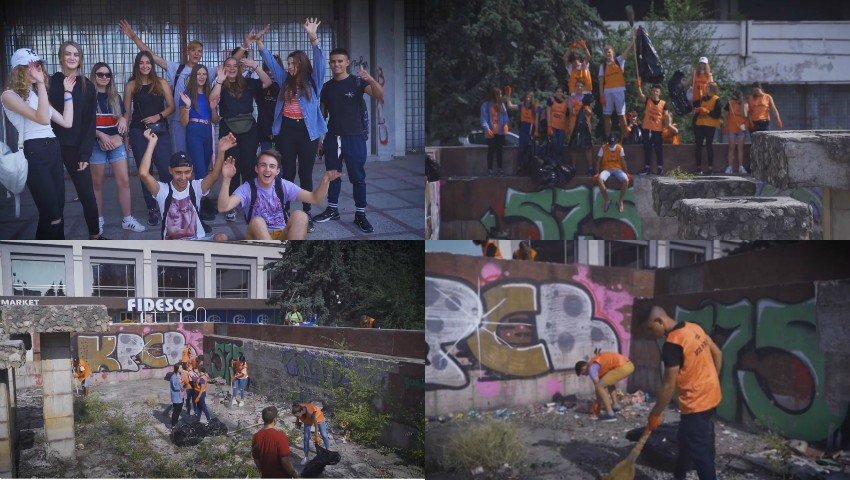 Foto: Un grup de tineri voluntari au curățat havuzul din fața Hotelului Național. Video!