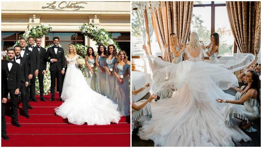 Primele imagini de la nunta Andreei Bălan! Rochia de mireasă are o semnificație deosebită pentru artistă și soțul ei