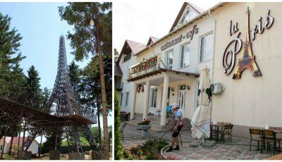 Ce frumusețe! În satul Corjeuți poți admira o replică a Turnului Eiffel din Paris