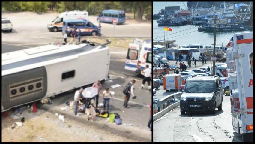 Foto: Un autobuz cu turiști s-a răsturnat în Antalya. Patru pasageri sunt în stare critică