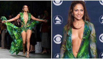 """Jennifer Lopez a făcut senzație la Milano, cu legendara ,,rochie cu palmieri""""! Foto"""