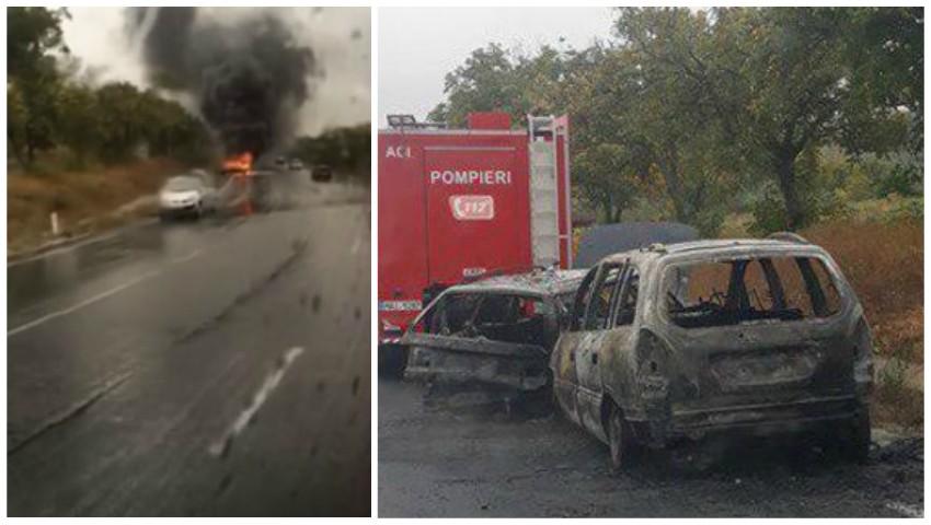 Foto: Accident înfiorător pe traseul Hâncești-Chișinău. Două mașini au luat foc, după ce s-au tamponat
