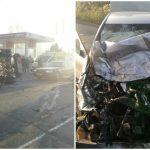 Foto: Microbuz de rută, răsturnat de către un mercedes la Strășeni. Trei pasageri au ajuns la spital