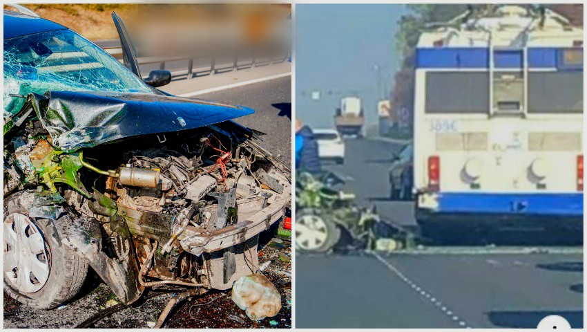 Foto: Un Renault a intrat în plină viteză într-un troleibuz, la Stăuceni