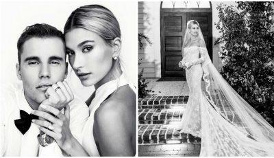 Soția lui Justin Bieber a publicat primele poze de la nuntă. Mireasa a purtat trei rochii