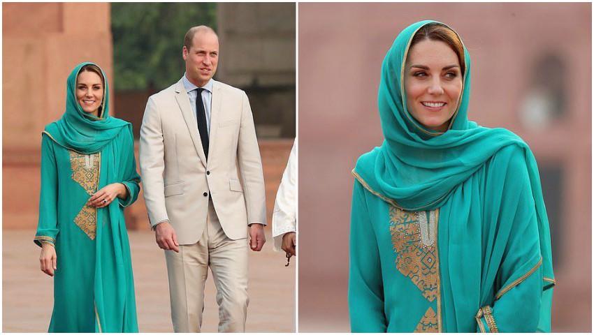 Foto: Kate Middleton, apariție surprinzătoare! Cu văl pe cap și desculță la intrarea într-o moschee islamică