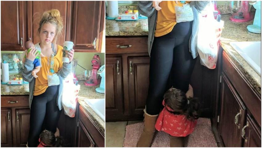 """Foto: O tânără s-a costumat de Halloween în ,,mamă obosită"""""""