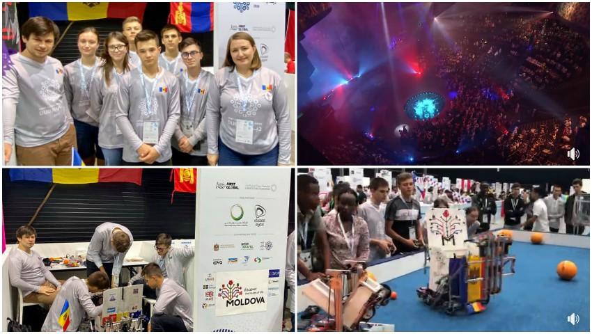 Foto: Tinerii moldoveni au obținut prima medalie de AUR, printre 189 de țări, la Campionatul Mondial de Robotică din Dubai!