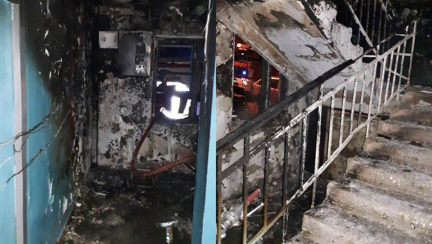 Foto: Incendiu la un cămin din Chișinău, noaptea trecută: 5 oameni internați în spital