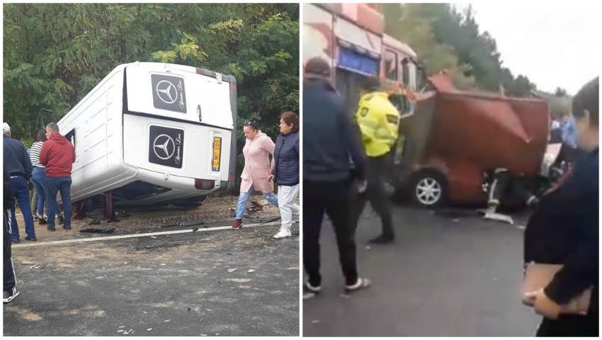 Foto: Accident violent pe șoseaua Chișinău-Hâncești. Un microbuz de rută s-a răsturnat