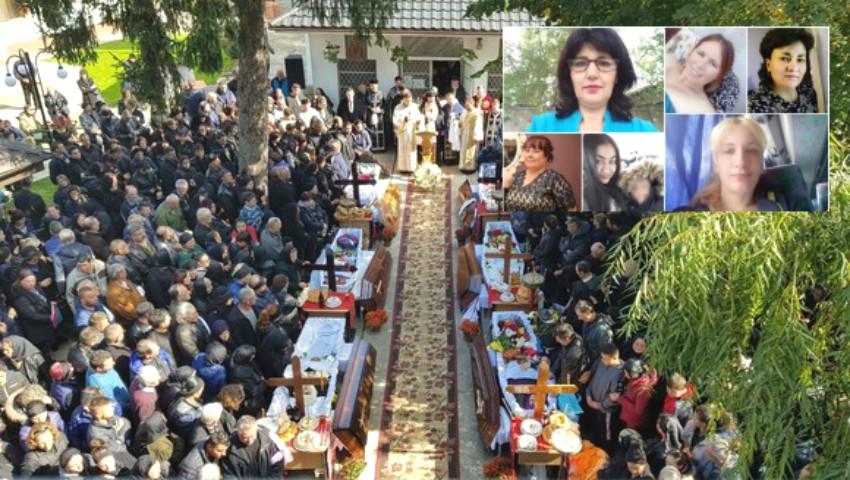 Foto: Șapte mame ucise de un TIR, în accidentul din Ialomiţa, au fost conduse pe ultimul drum
