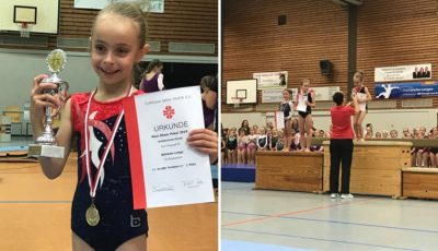O fetiță moldoveancă stabilită în Germania a obținut locul I la Turneul de gimnastică